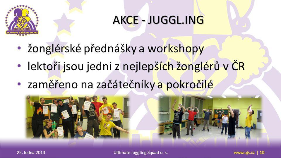 AKCE - JUGGL.ING žonglérské přednášky a workshopy lektoři jsou jedni z nejlepších žonglérů v ČR zaměřeno na začátečníky a pokročilé 22.