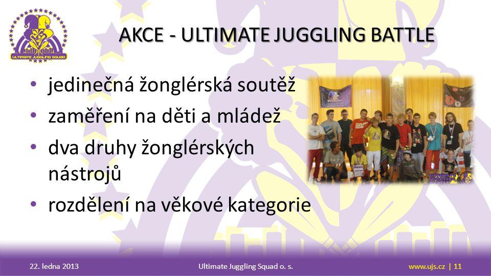 AKCE - ULTIMATE JUGGLING BATTLE jedinečná žonglérská soutěž zaměření na děti a mládež dva druhy žonglérských nástrojů rozdělení na věkové kategorie 22.