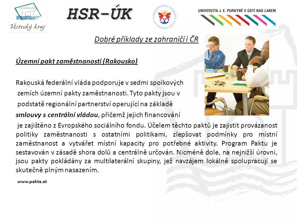 Dobré příklady ze zahraničí i ČR Územní pakt zaměstnanosti (Rakousko) Rakouská federální vláda podporuje v sedmi spolkových zemích územní pakty zaměst