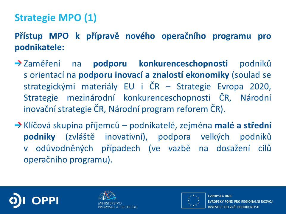 Přístup MPO k přípravě nového operačního programu pro podnikatele: Zaměření na podporu konkurenceschopnosti podniků s orientací na podporu inovací a z