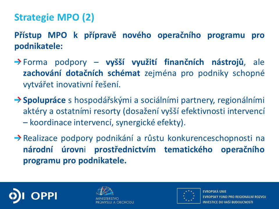Přístup MPO k přípravě nového operačního programu pro podnikatele: Forma podpory – vyšší využití finančních nástrojů, ale zachování dotačních schémat zejména pro podniky schopné vytvářet inovativní řešení.