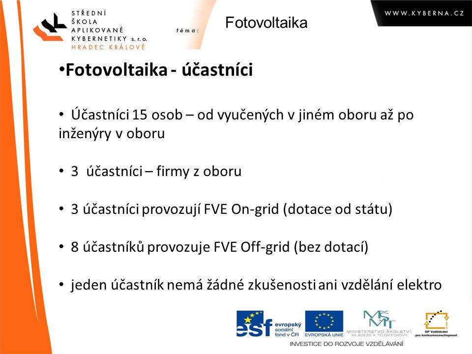 Fotovoltaika Fotovoltaika - účastníci Účastníci 15 osob – od vyučených v jiném oboru až po inženýry v oboru 3 účastníci – firmy z oboru 3 účastníci pr