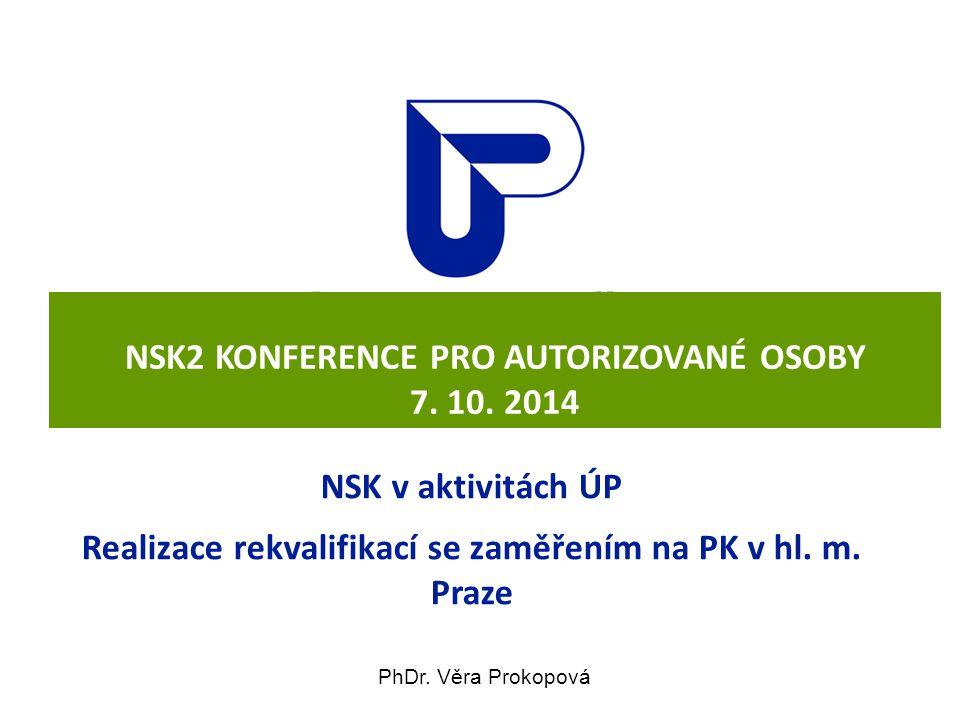 NSK2 KONFERENCE PRO AUTORIZOVANÉ OSOBY 7. 10. 2014 NSK v aktivitách ÚP Realizace rekvalifikací se zaměřením na PK v hl. m. Praze PhDr. Věra Prokopová