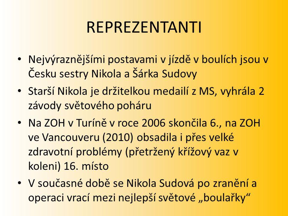 REPREZENTANTI Nejvýraznějšími postavami v jízdě v boulích jsou v Česku sestry Nikola a Šárka Sudovy Starší Nikola je držitelkou medailí z MS, vyhrála