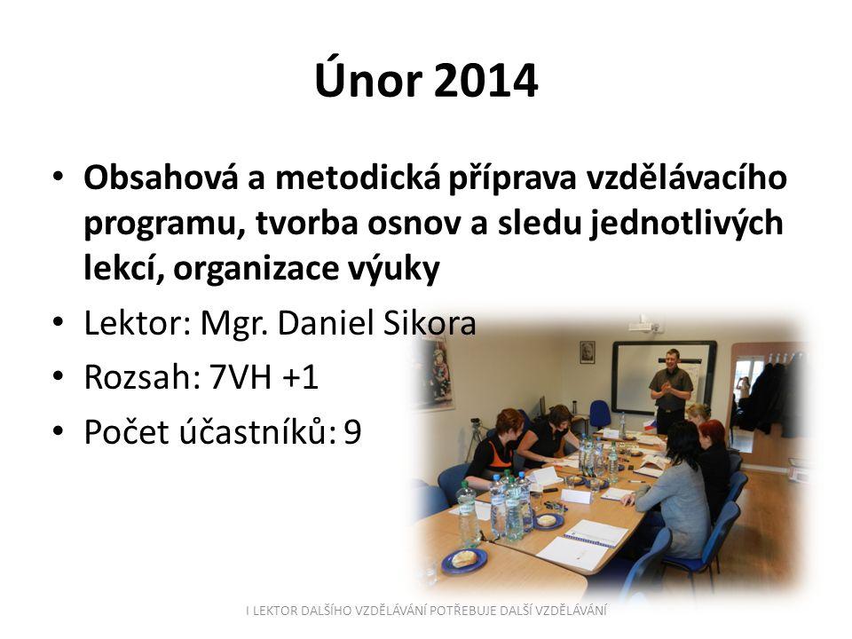 Únor 2014 Obsahová a metodická příprava vzdělávacího programu, tvorba osnov a sledu jednotlivých lekcí, organizace výuky Lektor: Mgr. Daniel Sikora Ro