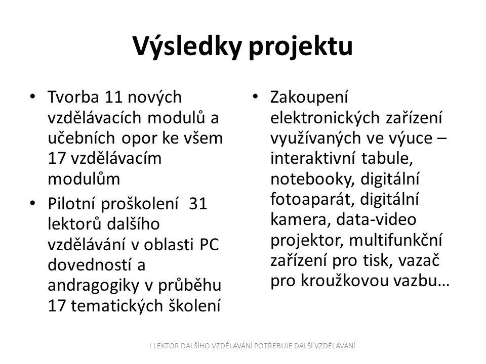 Kdo se na projektu podílel.- Celkem 5 lektorů - Realizační tým: manažer projektu Ing.