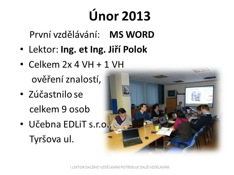 Březen 2013 MS EXCEL Lektor: Ing.et Ing.