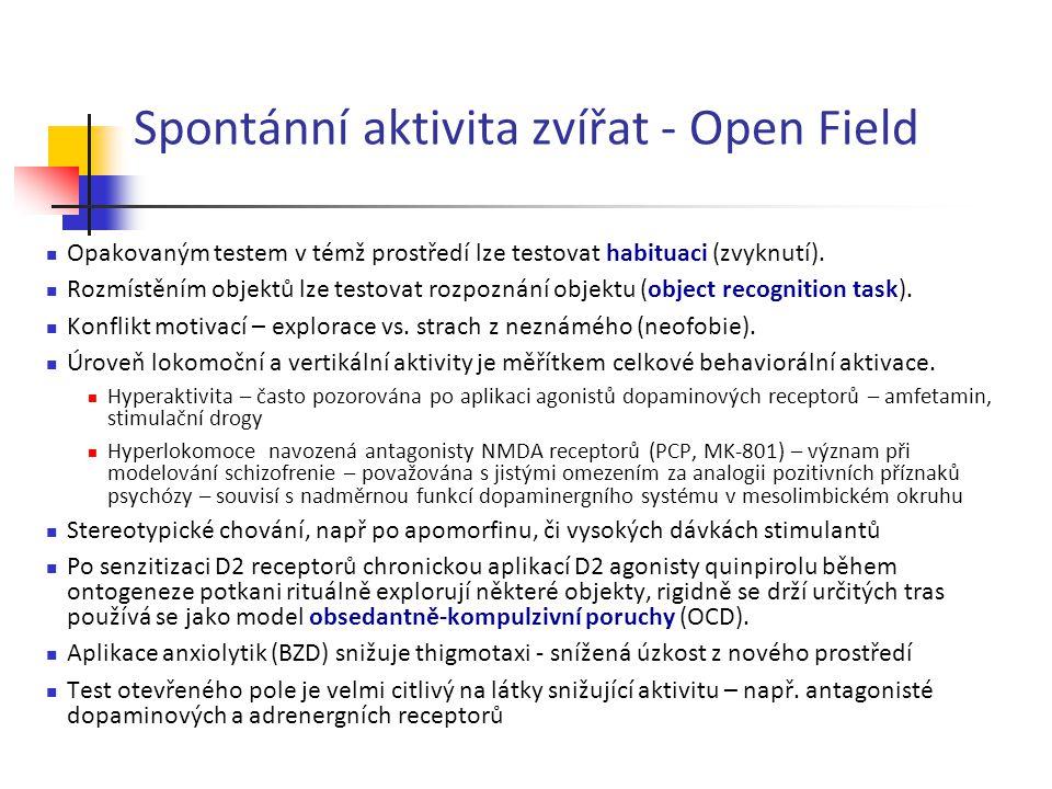 Spontánní aktivita zvířat - Open Field Opakovaným testem v témž prostředí lze testovat habituaci (zvyknutí). Rozmístěním objektů lze testovat rozpozná