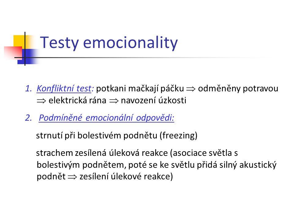 Testy emocionality 1.Konfliktní test: potkani mačkají páčku  odměněny potravou  elektrická rána  navození úzkosti 2. Podmíněné emocionální odpovědi