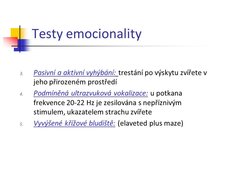 Testy emocionality 3. Pasivní a aktivní vyhýbání: trestání po výskytu zvířete v jeho přirozeném prostředí 4. Podmíněná ultrazvuková vokalizace: u potk