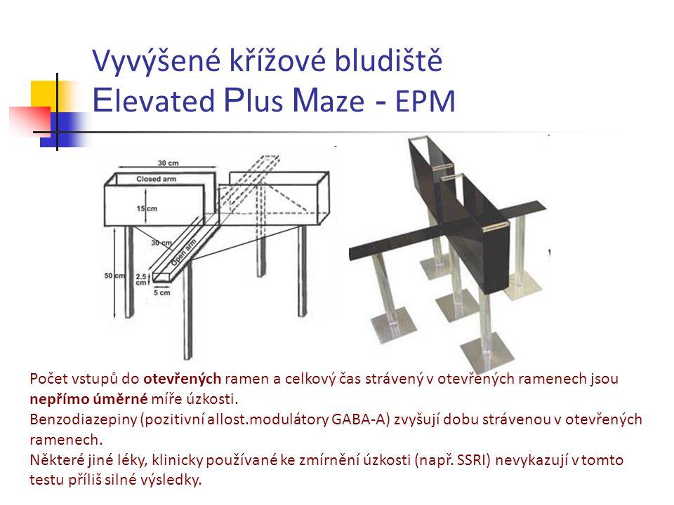 Vyvýšené křížové bludiště E levated P lus M aze - EPM Počet vstupů do otevřených ramen a celkový čas strávený v otevřených ramenech jsou nepřímo úměrn