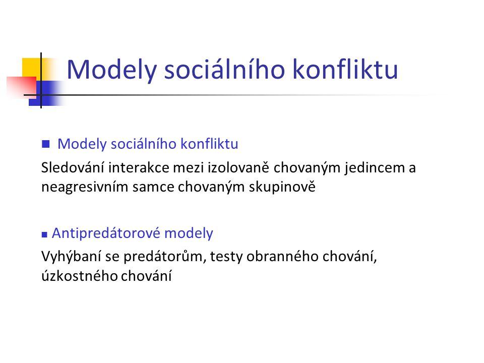 Modely sociálního konfliktu Sledování interakce mezi izolovaně chovaným jedincem a neagresivním samce chovaným skupinově Antipredátorové modely Vyhýba