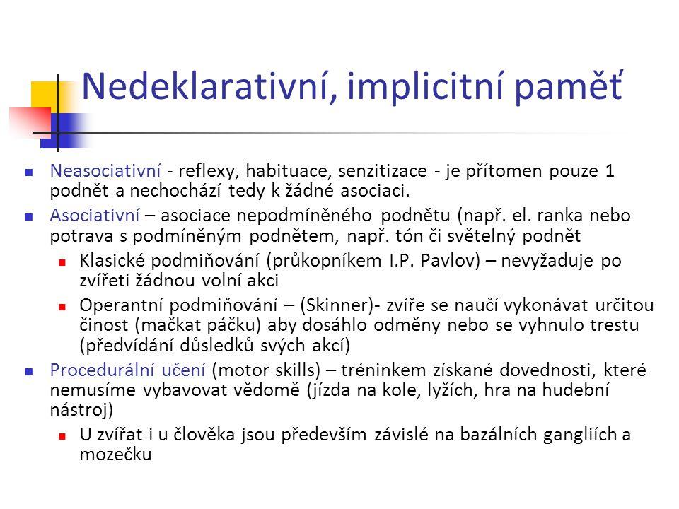 Nedeklarativní, implicitní paměť Neasociativní - reflexy, habituace, senzitizace - je přítomen pouze 1 podnět a nechochází tedy k žádné asociaci. Asoc