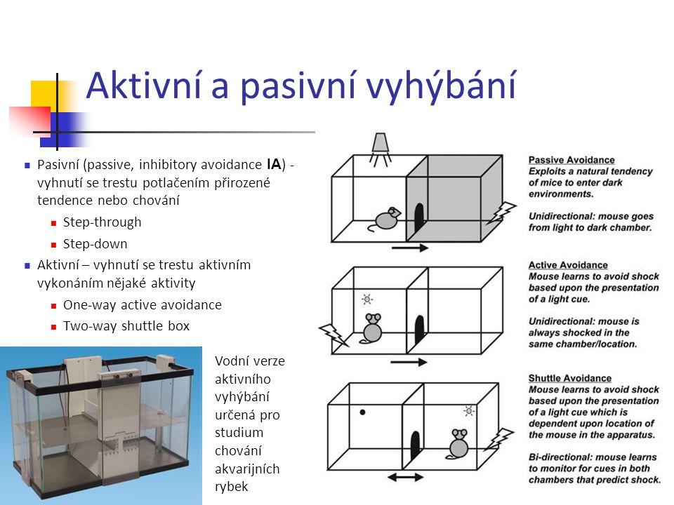 Aktivní a pasivní vyhýbání Pasivní (passive, inhibitory avoidance IA ) - vyhnutí se trestu potlačením přirozené tendence nebo chování Step-through Ste
