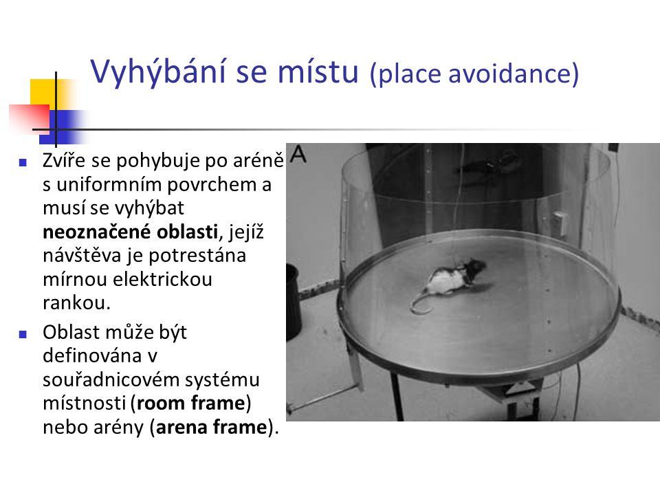 Vyhýbání se místu (place avoidance) Zvíře se pohybuje po aréně s uniformním povrchem a musí se vyhýbat neoznačené oblasti, jejíž návštěva je potrestán