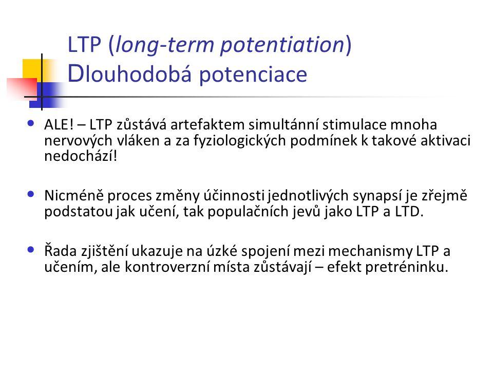 LTP (long-term potentiation) D louhodobá potenciace ALE! – LTP zůstává artefaktem simultánní stimulace mnoha nervových vláken a za fyziologických podm