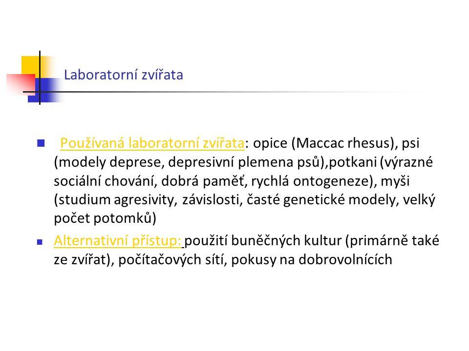Laboratorní zvířata Používaná laboratorní zvířata: opice (Maccac rhesus), psi (modely deprese, depresivní plemena psů),potkani (výrazné sociální chová