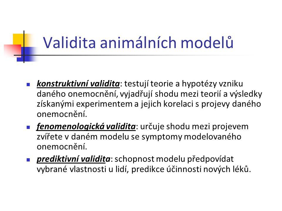 Validita animálních modelů konstruktivní validita: testují teorie a hypotézy vzniku daného onemocnění, vyjadřují shodu mezi teorií a výsledky získaným