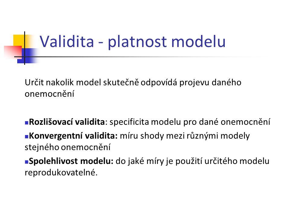Validita - platnost modelu Určit nakolik model skutečně odpovídá projevu daného onemocnění Rozlišovací validita: specificita modelu pro dané onemocněn