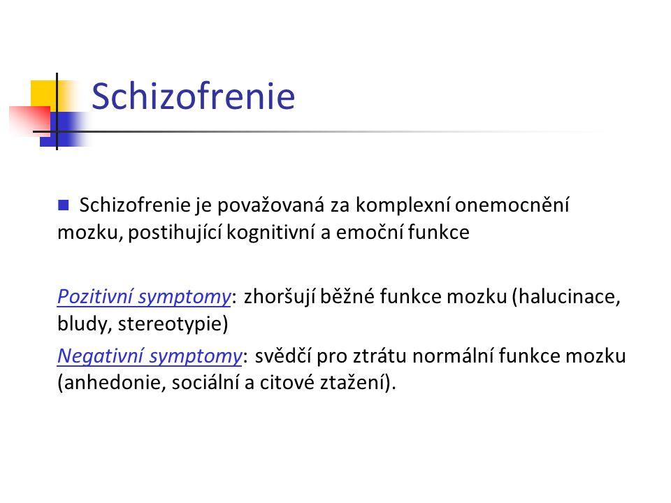 Schizofrenie Schizofrenie je považovaná za komplexní onemocnění mozku, postihující kognitivní a emoční funkce Pozitivní symptomy: zhoršují běžné funkc