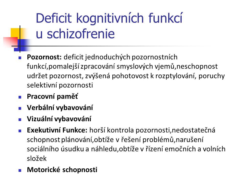 Deficit kognitivních funkcí u schizofrenie Pozornost: deficit jednoduchých pozornostních funkcí,pomalejší zpracování smyslových vjemů,neschopnost udrž