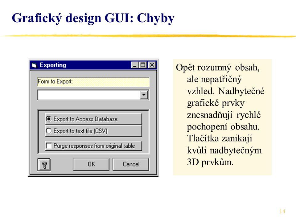 14 Grafický design GUI: Chyby Opět rozumný obsah, ale nepatřičný vzhled.