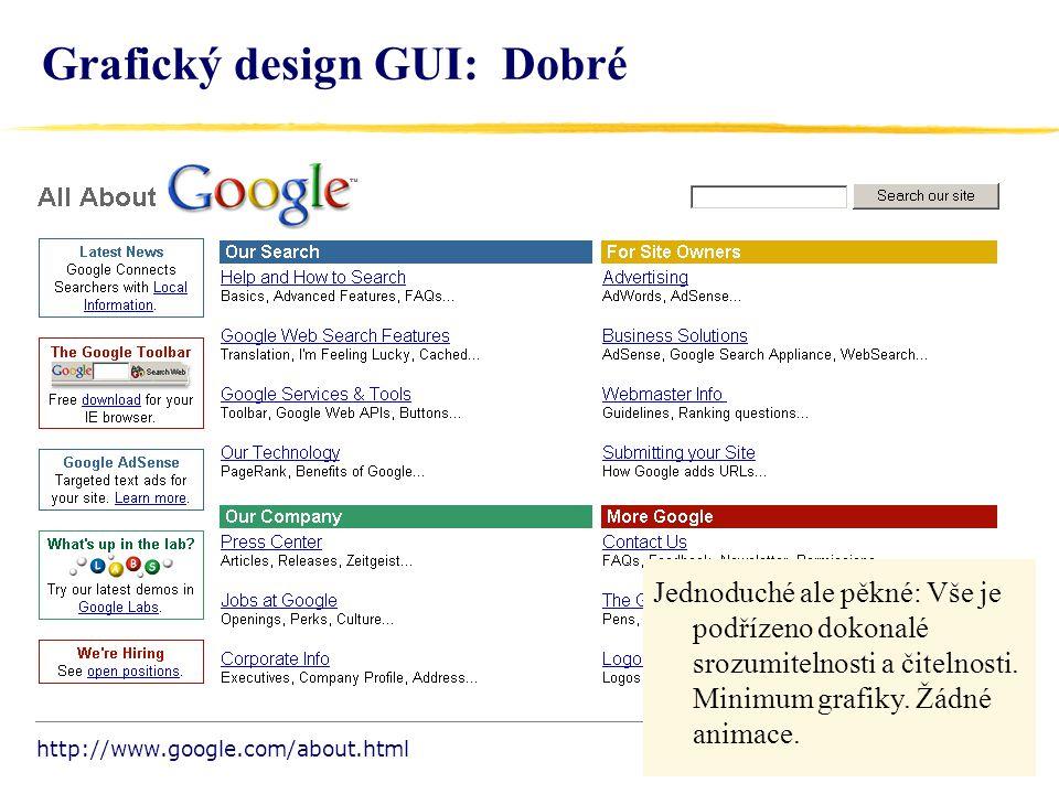 15 Grafický design GUI: Dobré Jednoduché ale pěkné: Vše je podřízeno dokonalé srozumitelnosti a čitelnosti.