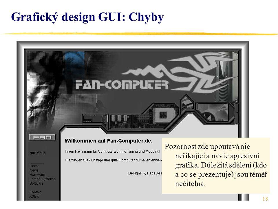 18 Grafický design GUI: Chyby Pozornost zde upoutává nic neříkající a navíc agresivní grafika.
