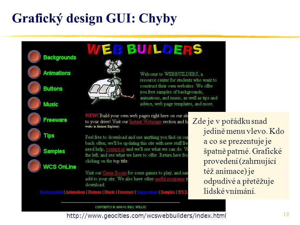 19 Grafický design GUI: Chyby http://www.geocities.com/wcswebbuilders/index.html Zde je v pořádku snad jedině menu vlevo.
