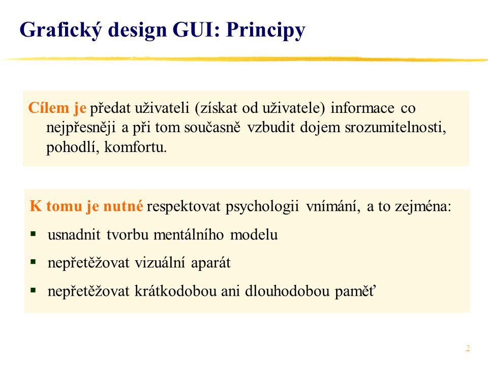 2 Grafický design GUI: Principy Cílem je předat uživateli (získat od uživatele) informace co nejpřesněji a při tom současně vzbudit dojem srozumitelnosti, pohodlí, komfortu.