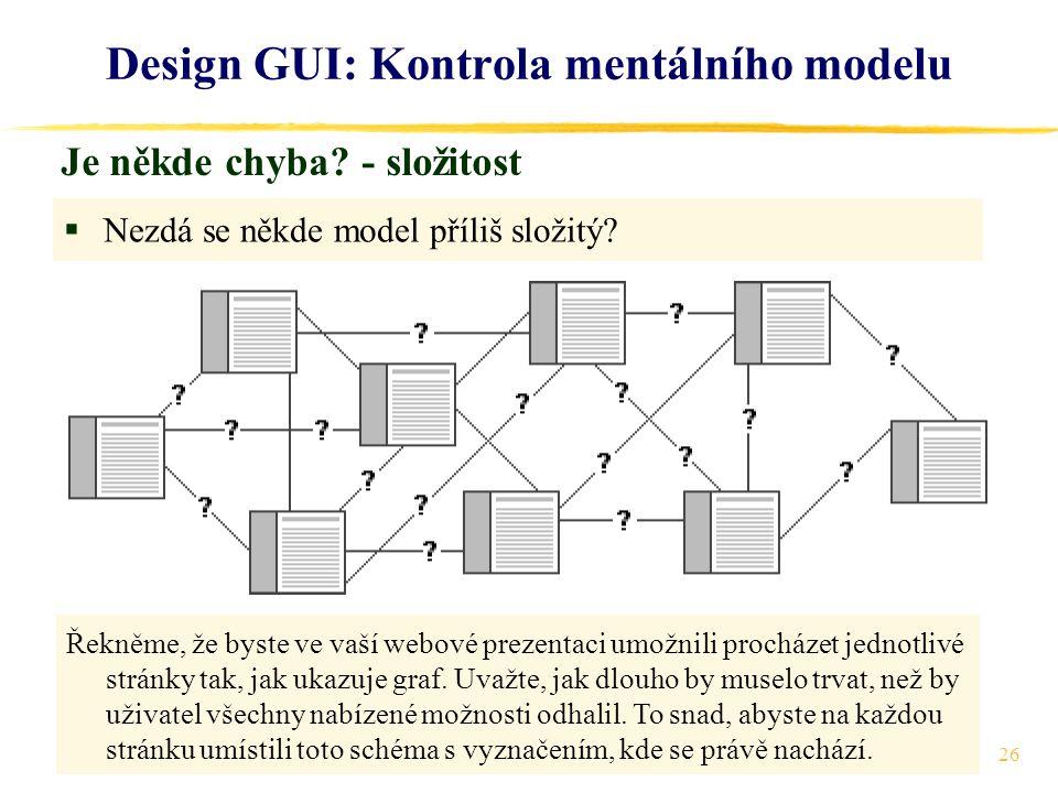 26 Design GUI: Kontrola mentálního modelu Je někde chyba.