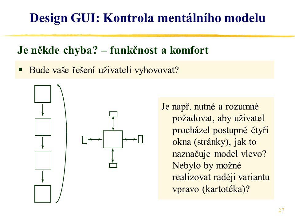 27 Design GUI: Kontrola mentálního modelu Je někde chyba.