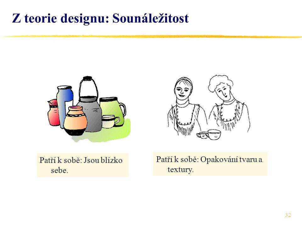 32 Z teorie designu: Sounáležitost Patří k sobě: Opakování tvaru a textury.