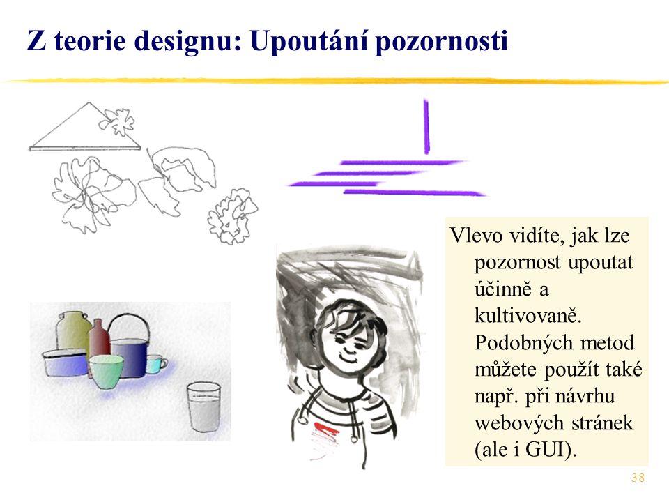 38 Z teorie designu: Upoutání pozornosti Vlevo vidíte, jak lze pozornost upoutat účinně a kultivovaně.