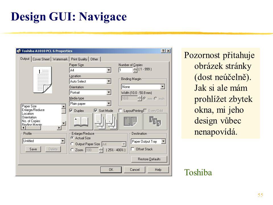 55 Design GUI: Navigace Pozornost přitahuje obrázek stránky (dost neúčelně).