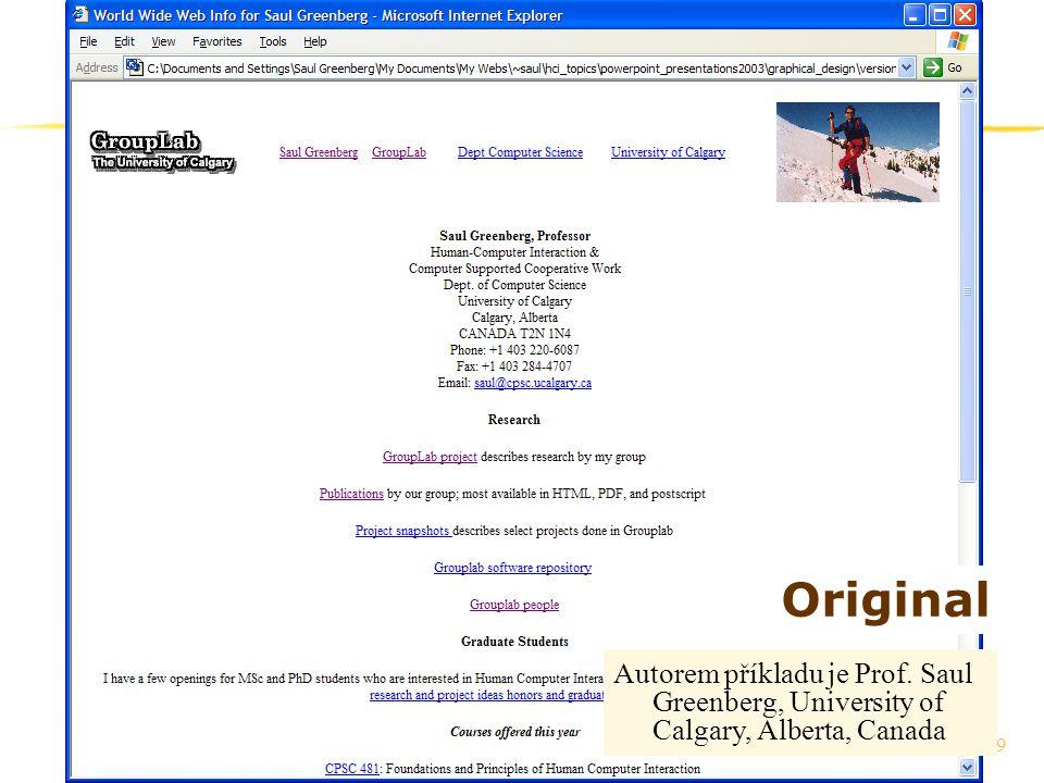 59 Original Autorem příkladu je Prof. Saul Greenberg, University of Calgary, Alberta, Canada
