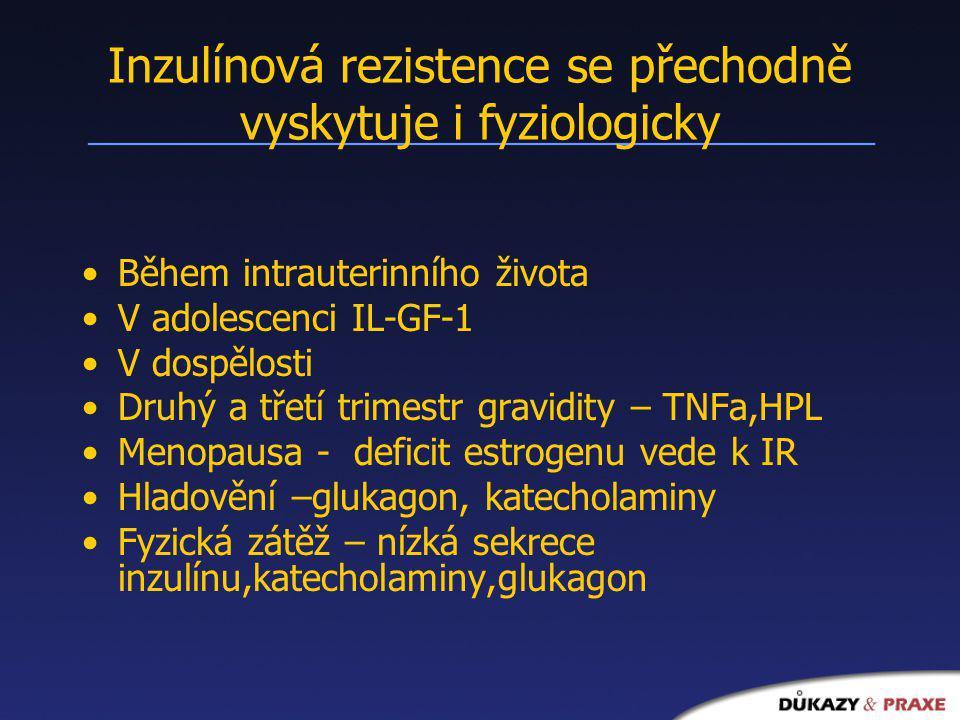 Inzulínová rezistence se přechodně vyskytuje i fyziologicky Během intrauterinního života V adolescenci IL-GF-1 V dospělosti Druhý a třetí trimestr gra