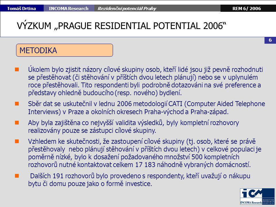 Rezidenční potenciál Prahy 7 REM 6/ 2006INCOMA Research Tomáš Drtina 1.