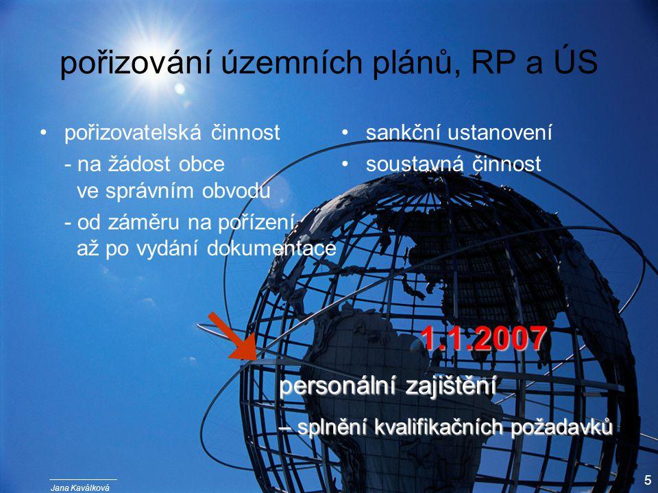 Jana Kaválková 5 pořizování územních plánů, RP a ÚS pořizovatelská činnost - na žádost obce ve správním obvodu - od záměru na pořízení až po vydání dokumentace sankční ustanovení soustavná činnost personální zajištění – splnění kvalifikačních požadavků 1.1.2007