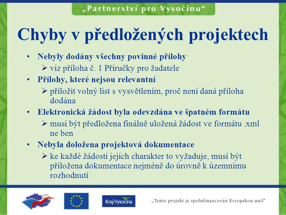 Chyby v předložených projektech Nebyly dodány všechny povinné přílohy  viz příloha č.
