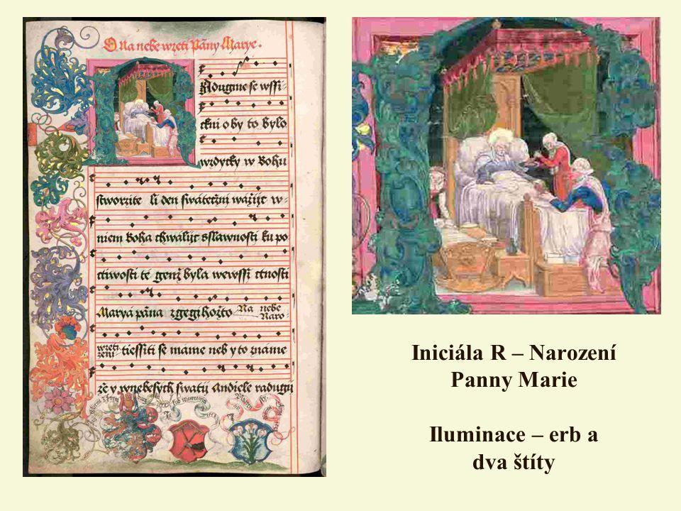 Iniciála R – Narození Panny Marie Iluminace – erb a dva štíty