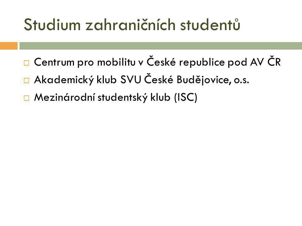 Studium zahraničních studentů  Centrum pro mobilitu v České republice pod AV ČR  Akademický klub SVU České Budějovice, o.s.