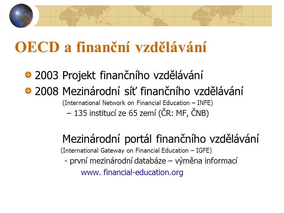 OECD a finanční vzdělávání 2003 Projekt finančního vzdělávání 2008 Mezinárodní síť finančního vzdělávání (International Network on Financial Education – INFE) –135 institucí ze 65 zemí (ČR: MF, ČNB) Mezinárodní portál finančního vzdělávání (International Gateway on Financial Education – IGFE) - první mezinárodní databáze – výměna informací www.