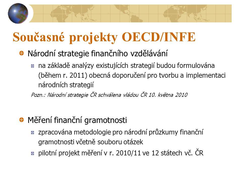 Současné projekty OECD/INFE Národní strategie finančního vzdělávání na základě analýzy existujících strategií budou formulována (během r.