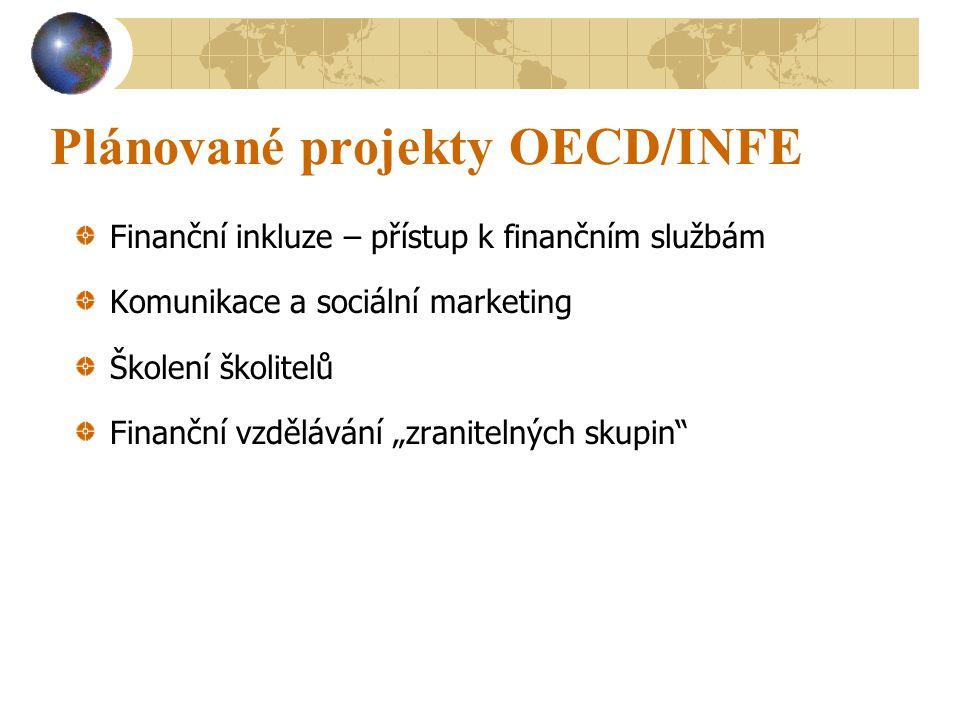 """Plánované projekty OECD/INFE Finanční inkluze – přístup k finančním službám Komunikace a sociální marketing Školení školitelů Finanční vzdělávání """"zranitelných skupin"""