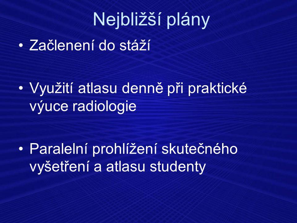 Nejbližší plány Začlenení do stáží Využití atlasu denně při praktické výuce radiologie Paralelní prohlížení skutečného vyšetření a atlasu studenty