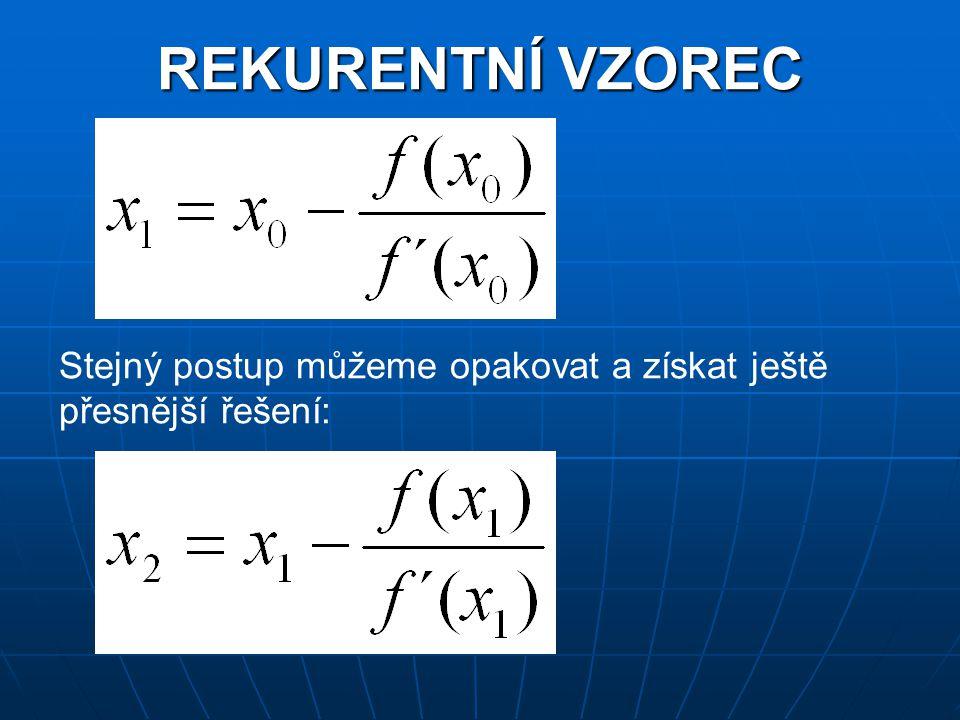 OBECNÉ ODVOZENÍ REKURENTNÍHO VZORCE Hledaná tečna má v bodě [x 0 ;y 0 ] = [x 0 ;f(x 0 )] rovnici: Pro průsečík [x 1 ;y 1 ] tečny s osou x platí y 1 = 0.