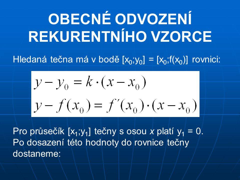 OBECNÉ ODVOZENÍ REKURENTNÍHO VZORCE Hledaná tečna má v bodě [x 0 ;y 0 ] = [x 0 ;f(x 0 )] rovnici: Pro průsečík [x 1 ;y 1 ] tečny s osou x platí y 1 =
