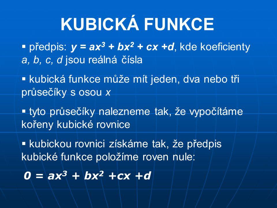 KUBICKÁ FUNKCE  předpis: y = ax 3 + bx 2 + cx +d, kde koeficienty a, b, c, d jsou reálná čísla  kubická funkce může mít jeden, dva nebo tři průsečík
