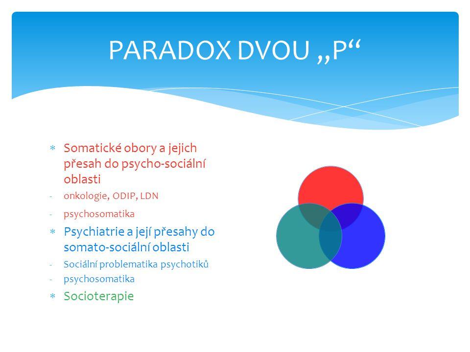 """PARADOX DVOU """"P""""  Somatické obory a jejich přesah do psycho-sociální oblasti -onkologie, ODIP, LDN -psychosomatika  Psychiatrie a její přesahy do so"""